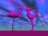 Flamingo yoga - 3D render — Stock Photo