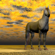 Stock Photo: Surrealistic horse - 3D render