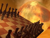 Chess strategy - 3D render — Stock Photo
