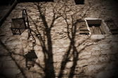 Scary old brick wall and shadow — Stock Photo