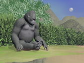 Gorilla thinking next to water - 3D render — Stock Photo