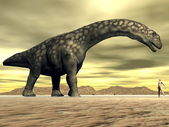 Argentinosaurus dinosaur and human size - 3D render — Stock Photo