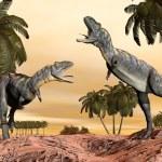 Acasaurus dinosaurs fight - 3D render — Stock Photo