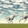 Dalmatian dogs running - 3D render — Stock Photo