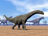 Dinosauři argentinosaura walk - 3d vykreslení — Stock fotografie