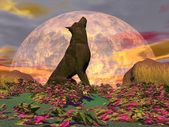 Howling wolf - 3D render — Stock Photo