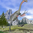 Gigantoraptor dinosaur running - 3D render — Stock Photo