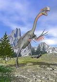 Gigantoraptor dinosaur running - 3D render — Stock Photo