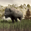 Bison in the nature - 3D render — Stock Photo
