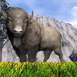 Stock Photo: Bisons in the nature - 3D render