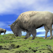 Bisons and grassland - 3D render — Stock Photo