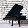 Stock Photo: Musical notes around grand piano - 3D render