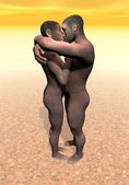 Homo erectus couple - 3D render — Stock Photo