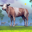 Cows in nature - 3D render — Stock Photo