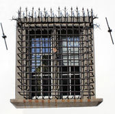 Window with grid — Stock Photo