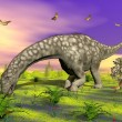 Argentinosaurus dinosaur eating - 3D render — Stock Photo #29361543