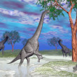 Stockfoto: Brachiosaurus dinosaur eating - 3D render