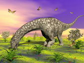 Argentinosaurus dinosaur eating - 3D render — Stock Photo