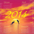 Dolphins 2014 calendar - 3D render — Stock Photo