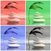 Zen coloridas piedras - 3d render — Foto de Stock