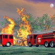 Fire trucks in action - 3D render — Stock Photo