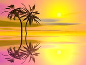 Palm trees holidays - 3D render — Stock Photo
