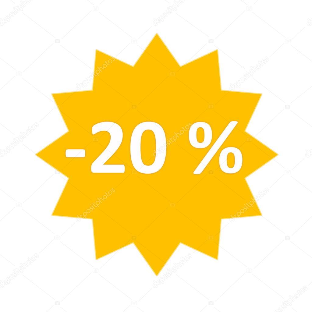 20%出售黄金星形图标