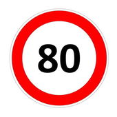 80 speed limit sign — Stock Photo