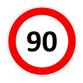 90 speed limit sign — Stock Photo