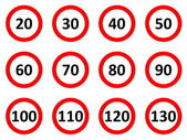 Speed limit signs — Stock Photo