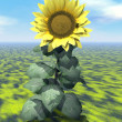 Stock Photo: Sunflower power - 3D render