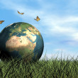 Stock Photo: Butterflies protecting earth - 3D render