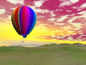 Colorful hot air balloon - 3D render — Stok fotoğraf