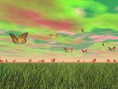 Monarch schmetterlinge im natur - 3d render — Stockfoto
