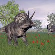 Zuniceratops dinosaurs in nature - 3D render — Stock Photo