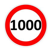 Speed limit sign for 1000 — Stock Photo