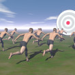 Men running to a target - 3D render — Stock Photo