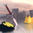 End of royalty - 3D render — Stockfoto