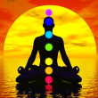 Chakras at sunset - 3D render — Stock Photo