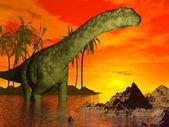 Argentinosaurus dinosaur by sunset - 3D render — Stock Photo