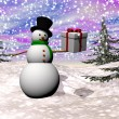 Gift from snowman - 3D render — Stock Photo #36793837