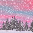 Winter snowing landscape - 3D render — Stock Photo