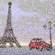 Paris in winter, France - 3D render — Stock Photo