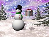 Gift from snowman - 3D render — Stock Photo
