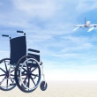 Wheelchair and travel by plane- 3D render — Stock Photo
