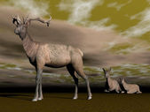 Elk male protection - 3D render — Foto Stock