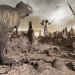 Постер, плакат: Tyrannosaurus running to pteranodons 3D render