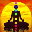 Stock Photo: Chakras at sunset - 3D render