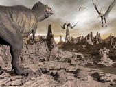 Tiranossauro correndo para pteranodons 3d render — Foto Stock