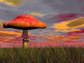 Fantasy mushroom - 3D render — Stock Photo